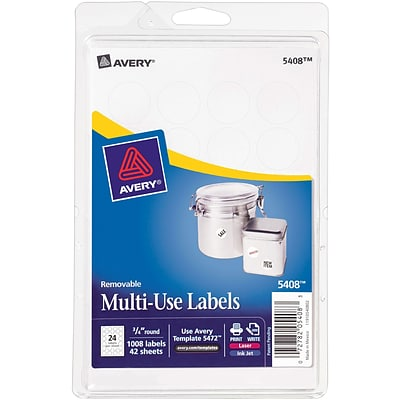 Avery® 5408 Print-or-Write Multiuse ID Labels, 3/4 Diameter, 1,008/Pack
