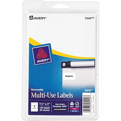 Avery® 5440 Print-or-Write Multiuse ID Labels, 1-1/2H x 3L, 150/Pack