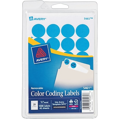Avery® 5461 Round 3/4 Diameter Print & Write Color Coding Labels, Light Blue