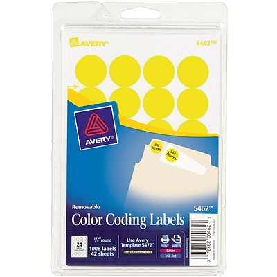 Avery® Round 3/4 Diameter Print-and-Write Color Coding Labels, Yellow, 1,008/Pack (13949/5462)