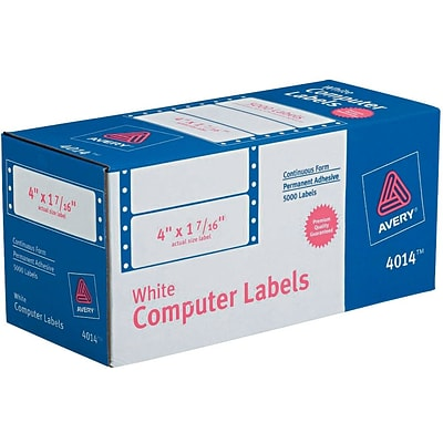 Avery® 4014 White Pin-Fed Computer Labels, 4 x 1-7/16, 5,000/Box