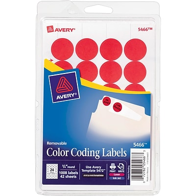 Avery® 3/4 Round Print & Write Color-Coding Labels, Red, 1008/Pack (13952/5466)