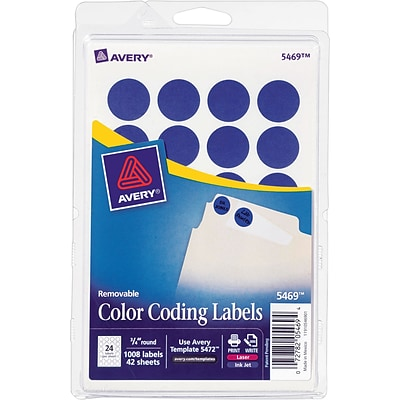 Avery® 5469 Round 3/4 Diameter Print & Write Color Coding Labels, Dark Blue