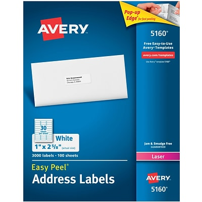 Avery 1 x 2 5/8 5160 Laser Address Labels with Easy Peel, White, 3,000/Box