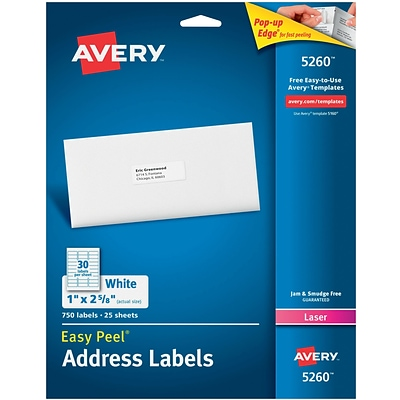 Avery 1 x 2 5/8 5260 White Laser Address Labels with Easy Peel, 750/Box