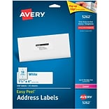 Avery® 5262 White Laser Address Labels, 1-1/3 x 4