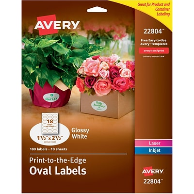 Avery® Easy Peel Print-to-the-Edge Glossy Oval Labels, True Print, 1-1/2 x 2-1/2, Pack of 180 (22804)