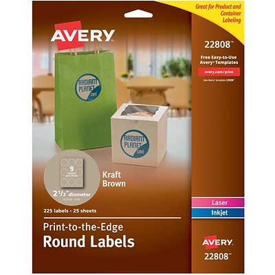 Avery® 22808 Easy Peel® Print-to-the-Edge Kraft Brown Round Labels, 2-1/2 Diameter, 225/Box