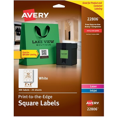 Avery® White Laser/Inkjet Specialty Square Shaped Labels with TrueBlock, 2 x 2, 300/Box (22806)