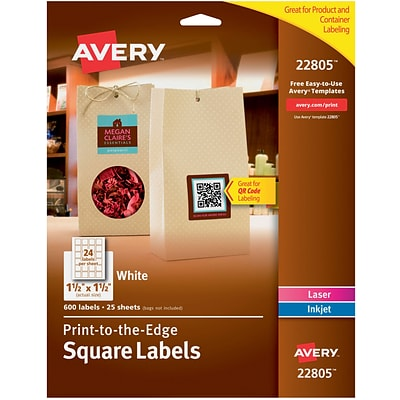 Avery® 22805 White Laser/Inkjet Specialty Square Shaped Labels with TrueBlock, 1-1/2 1-1/2 600/Box