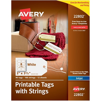 Avery® Printable White Tags with Strings for Inkjet Printers, 2 x 3-1/2