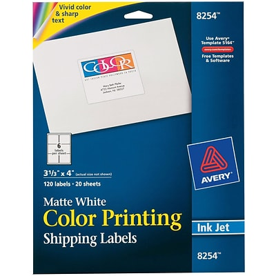 Avery® 8254 Color Printing Matte White Inkjet Shipping Labels, 3-1/3 x 4, 120/Box