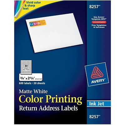 Avery 8257 Color Printing Matte White Inkjet Return Address Labels, 3/4 x 2-1/4, 600 labels per pack
