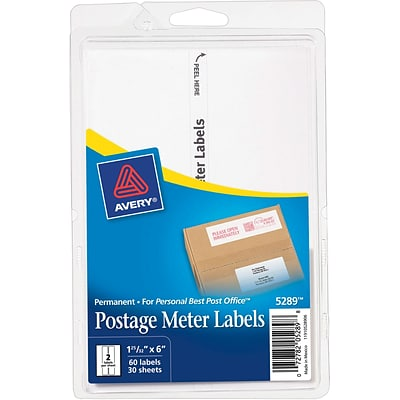 Avery® Postage Meter Labels, for Personal Post Office™, 1-25/32 x 6
