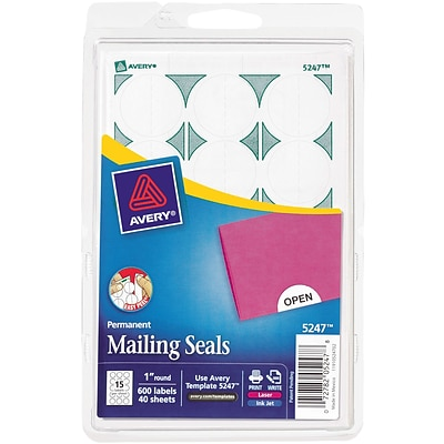 Avery® Print-or-Write Mailing Seals 1 Diameter White 600/Pack (13928/5247)