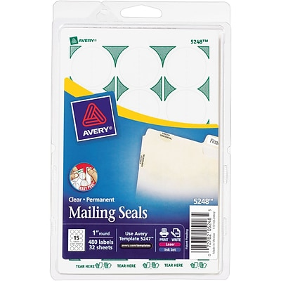 Avery® 5248 Print-or-Write Clear Mailing Seals, 1 Diameter, 480/Pack (13929/5248)