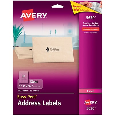 Avery® 5630 Clear Laser Address Labels with Easy Peel®, 1 X 2-5/8, 750/Box