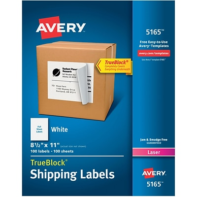 avery laser full sheet shipping labels with trueblock 8 1 2 x 11