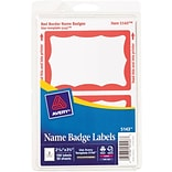 Avery Print or Write Self-Adhesive Name Badge Labels; 2-11/32 x 3-3/8, 100/Pk