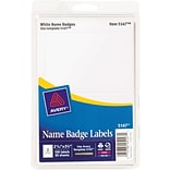Avery Name Badge Labels for Inkjet and Laser Printers, 2 Labels Per Sheet, White, 2 11/32 x 3 3/8,