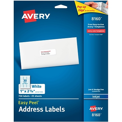 Avery 1 x 2-5/8 Inkjet Address Labels with Easy Peel, White, 750/Box (8160)