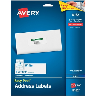 Avery 8162 White Inkjet Address Labels with Easy Peel®, 1-1/3 x 4, 350/Box