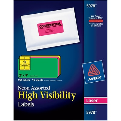 Avery® 2 x 4 Laser Shipping Labels, Assorted Neon Colors, 150/Box (5978)