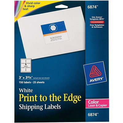 Avery 6874 Color Printing Matte White Laser Shipping Labels, 3 X 3-3/4, 150/Box