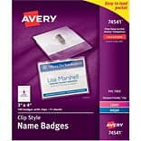 Avery Clip-Style Name Tag Holders (74541) - Plastic - 3x4, 100 ct