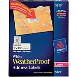 Avery® 5520 White WeatherProof Address Labels; Laser, 1 x 2-5/8, 1500/Box