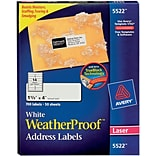Avery 1-1/3x4 White Weatherproof Address Labels