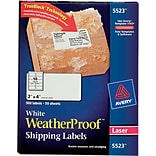 Avery® 5523 White WeatherProof Shipping Labels; Laser, 2 x 4, 500/Box