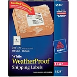 Avery® 5524 White WeatherProof Shipping Labels; Laser, 3-1/3 x 4, 300/Box