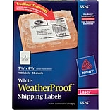 Avery® 5526 White WeatherProof Shipping Labels; Laser, 5-1/2 x 8-1/2, 100/Box