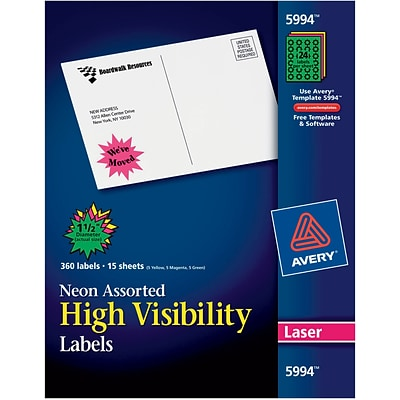 Avery 5994 Neon Laser Burst ID Labels, 1-1/2, Assorted Colors, 360/Box