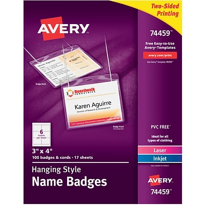Avery 74459 Hanging Name Tags, 3 x 4, White