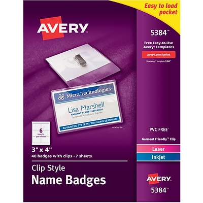 Avery® Top Loading Clip Style Name Tags, 3 x 4