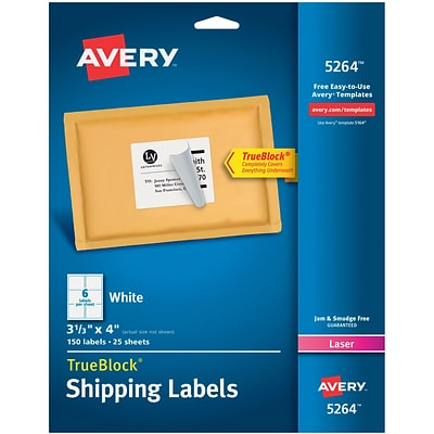 Avery® 3-1/3 x 4 Laser Shipping Labels with TrueBlock, White, 150/Box (5264)