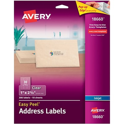 Avery Inkjet Address Labels with Easy Peel, 1 x 2-5/8, Clear, 300/Pack (18660)