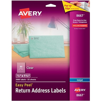Avery® 8667 Return Address Labels with Easy Peel, Clear, Inkjet, 1/2 X 1-3/4, 2,000/Box