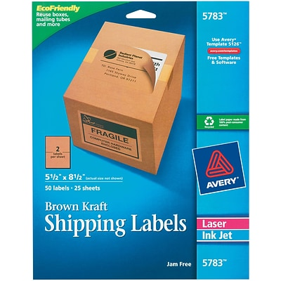 Avery Laser/Inkjet Shipping Label, 8 1/2 x 8 1/2, Brown, 2 Labels/Sheet, 25 Sheets/Pack (5783)