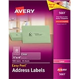 Avery® 5661 Clear Easy Peel Address Labels; Laser, 1 x 4, 1000/Box