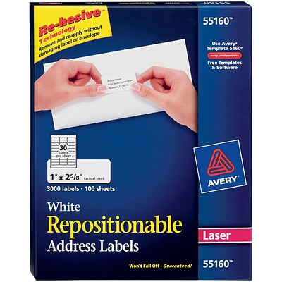 Avery® 55160 Repositionable White Laser Address Labels 1 x 2-5/8, 3,000/Box