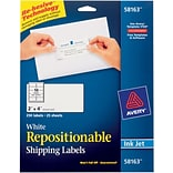 Avery® 58163 Repositionable White Inkjet Shipping Labels 2 x  4, 250/Box