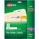 Avery Permanent File Folder Labels with TrueBlock, 2/3 x 3-7/16, White, 750/Pack (08366)