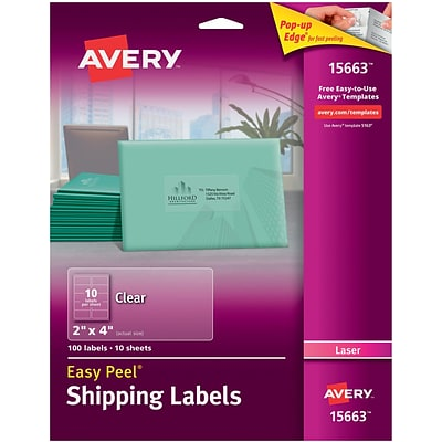 Avery® 15663 Clear Laser Shipping Labels with Easy Peel®, 2 X 4, 100/Box