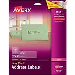 Avery® 15661 1 x 4 Clear Laser Address Labels with Easy Peel®, 200/Box