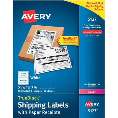 Avery® 5127 White Laser Shipping Labels with Paper Receipt, 5-1/16 x 7-5/8, 50/Box