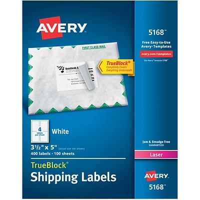 Avery Laser Shipping Labels with TrueBlock, 3-1/2 x 5, White, 400 Labels/Box (05168)