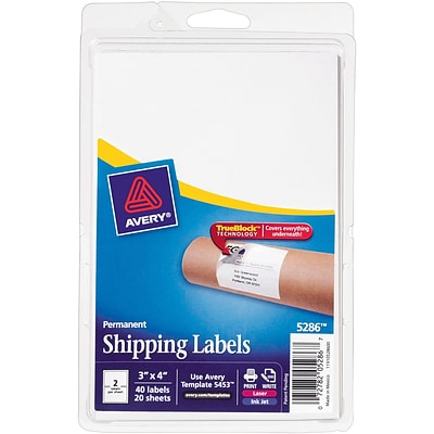 Avery® 5286 White Laser/Inkjet Shipping Labels with TrueBlock, 3 x 4, 40/Pack